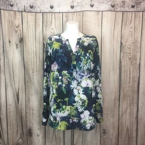 Adrianna Papell Blue Green Floral Blouse 1X